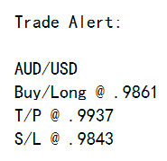 English: Typical SMS forex signal, delivered t...