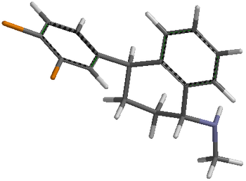 English: 3D tube model of Sertraline (Zoloft).