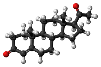 Ball-and-stick model of the progesterone molec...