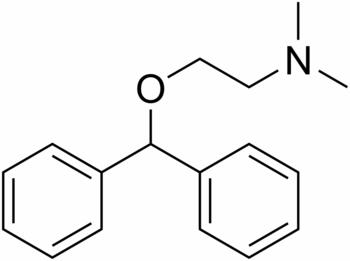 English: 2D-structure of diphenhydramine (Bena...