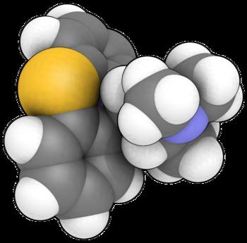 English: 3D (balls) model of promethazine Cate...