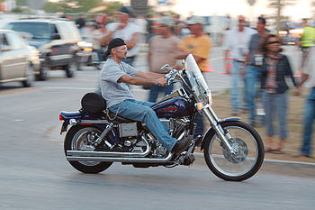 English: A biker during Harley-Davidson's 105t...