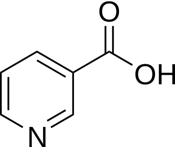 The chemical structure of niacin.