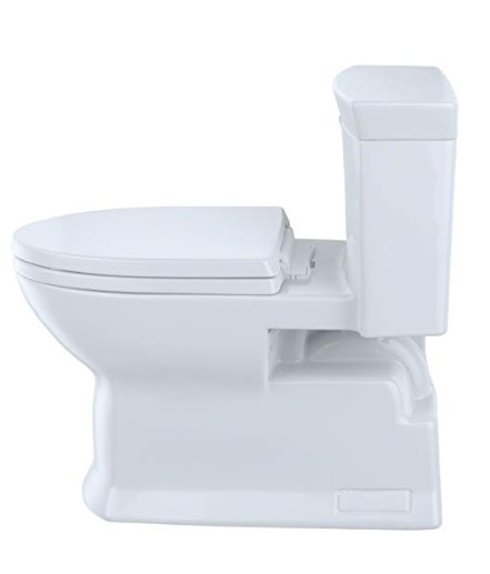 Toto toilet uses the high-efficiency double cyclone flush system